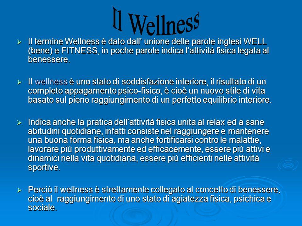 Il termine Wellness è dato dall unione delle parole inglesi WELL (bene) e FITNESS, in poche parole indica lattività fisica legata al benessere. Il ter