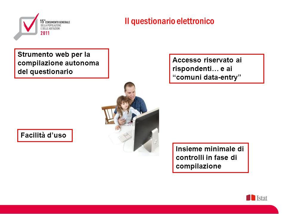 Il questionario elettronico Strumento web per la compilazione autonoma del questionario Facilità duso Accesso riservato ai rispondenti… e ai comuni da