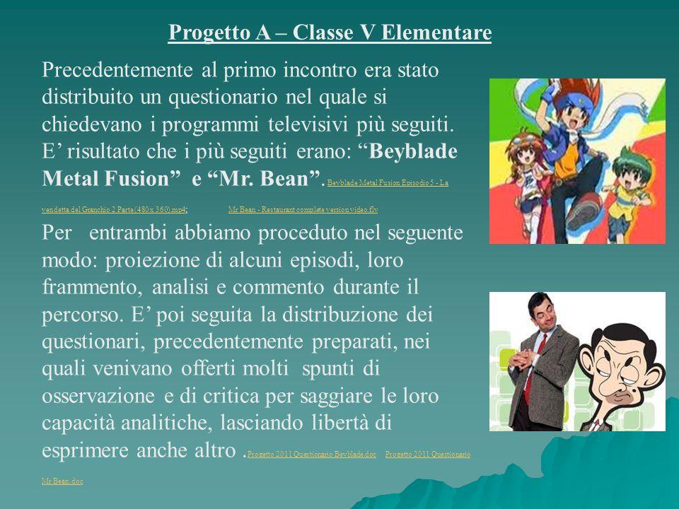Progetto A – Classe V Elementare Precedentemente al primo incontro era stato distribuito un questionario nel quale si chiedevano i programmi televisivi più seguiti.