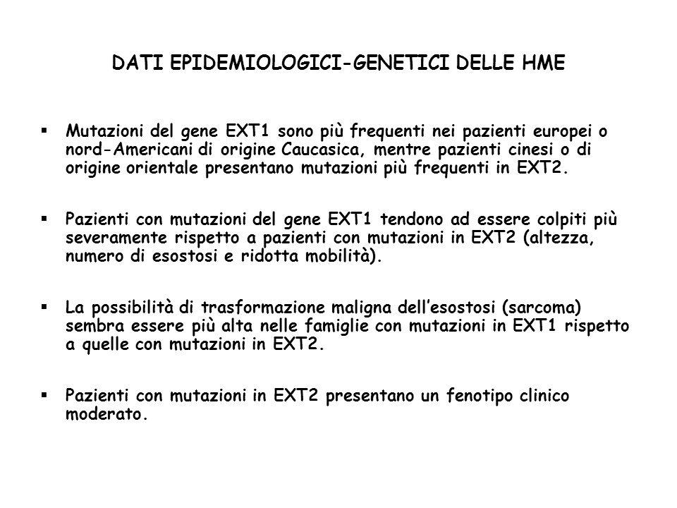 DATI EPIDEMIOLOGICI-GENETICI DELLE HME Mutazioni del gene EXT1 sono più frequenti nei pazienti europei o nord-Americani di origine Caucasica, mentre pazienti cinesi o di origine orientale presentano mutazioni più frequenti in EXT2.