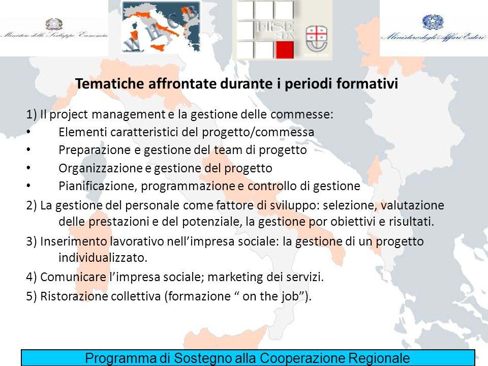 Programma di Sostegno alla Cooperazione Regionale Tematiche affrontate durante i periodi formativi 1) Il project management e la gestione delle commes