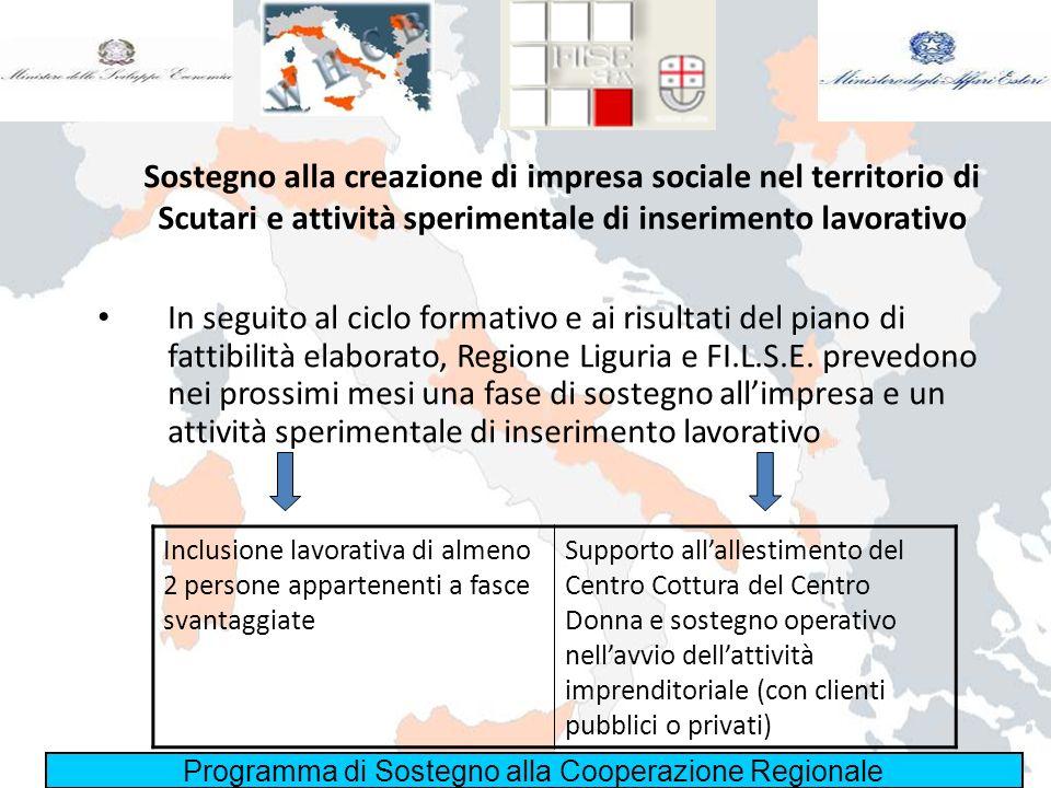 Programma di Sostegno alla Cooperazione Regionale Sostegno alla creazione di impresa sociale nel territorio di Scutari e attività sperimentale di inse
