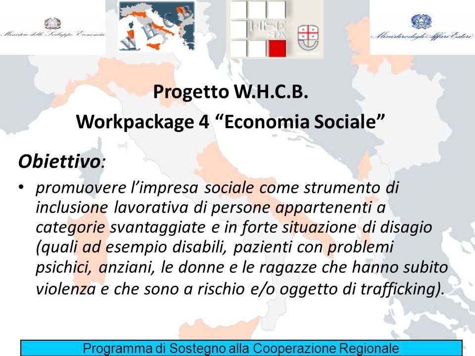 Programma di Sostegno alla Cooperazione Regionale Progetto W.H.C.B. Workpackage 4 Economia Sociale Obiettivo: promuovere limpresa sociale come strumen