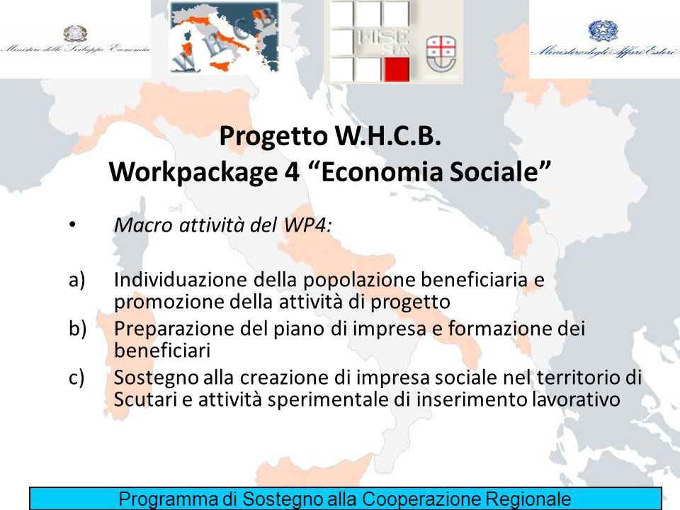 Programma di Sostegno alla Cooperazione Regionale Progetto W.H.C.B. Workpackage 4 Economia Sociale Macro attività del WP4: a)Individuazione della popo