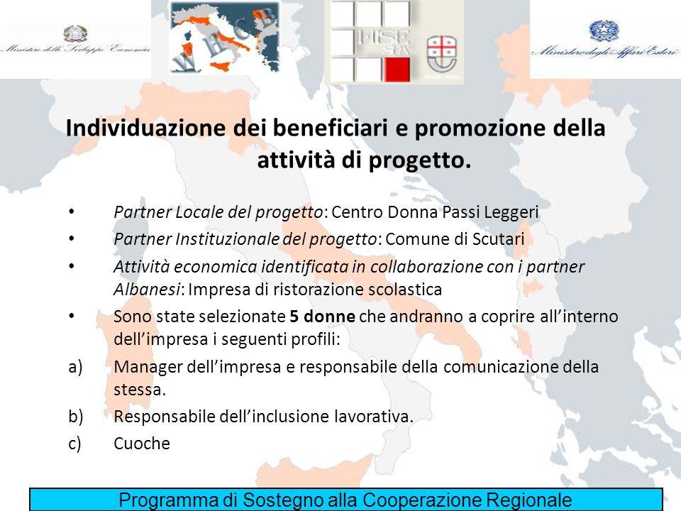 Programma di Sostegno alla Cooperazione Regionale Individuazione dei beneficiari e promozione della attività di progetto. Partner Locale del progetto:
