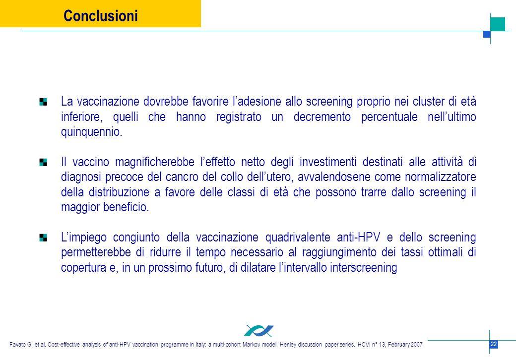 22 La vaccinazione dovrebbe favorire ladesione allo screening proprio nei cluster di età inferiore, quelli che hanno registrato un decremento percentu
