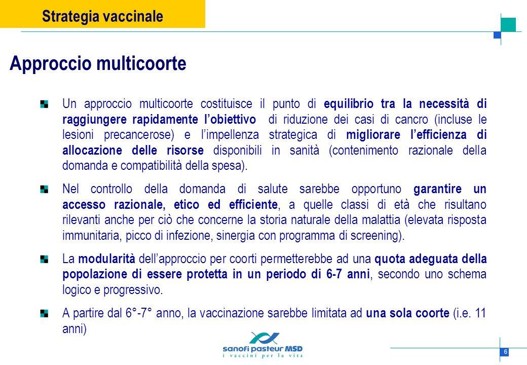 6 Un approccio multicoorte costituisce il punto di equilibrio tra la necessità di raggiungere rapidamente lobiettivo di riduzione dei casi di cancro (
