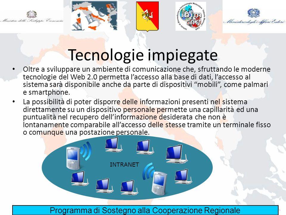 Programma di Sostegno alla Cooperazione Regionale Tecnologie impiegate Oltre a sviluppare un ambiente di comunicazione che, sfruttando le moderne tecn