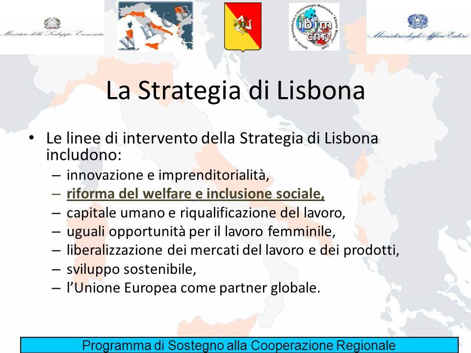 Programma di Sostegno alla Cooperazione Regionale La Strategia di Lisbona Le linee di intervento della Strategia di Lisbona includono: – innovazione e
