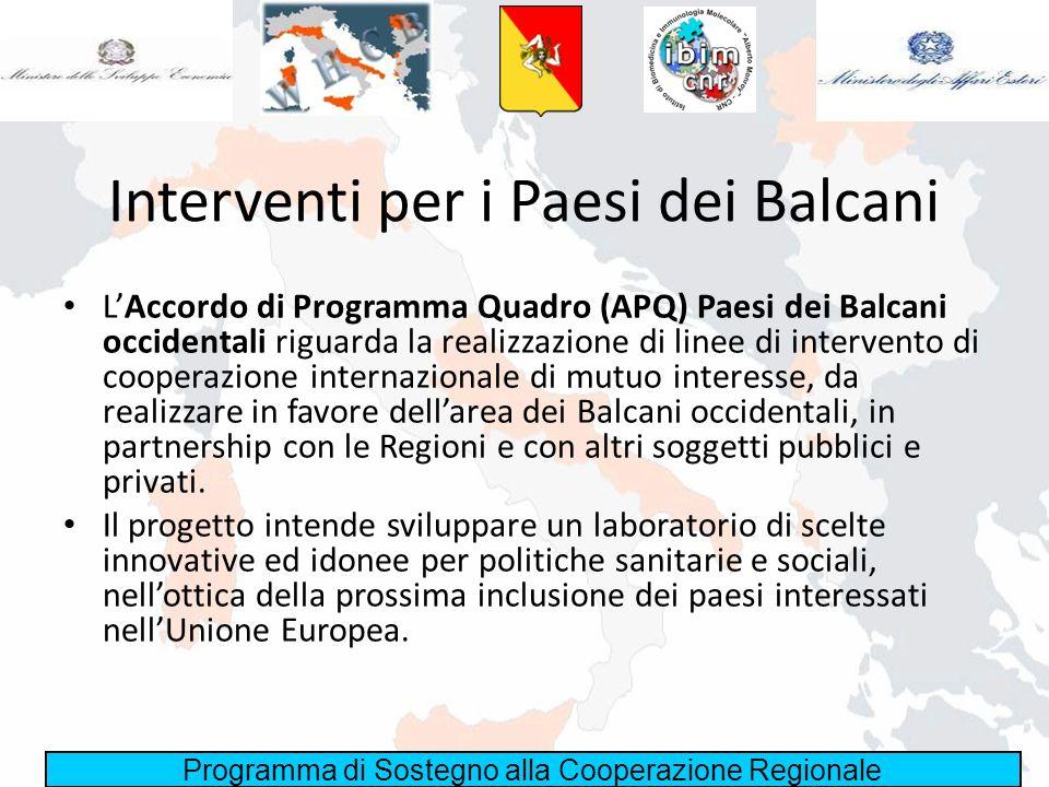 Programma di Sostegno alla Cooperazione Regionale APQ Paesi dei Balcani Linea 2.5 - Sanità e Welfare Per la linea di intervento Sanità e Welfare, le Regioni e le Province autonome sono impegnate nella progettazione di interventi per: – il consolidamento del partenariato internazionale in vista della nuova programmazione UE; – la valorizzazione delle attività di rete tra le regioni italiane e balcaniche; – la promozione dellinnovazione nei sistemi socio-sanitari locali; – la promozione dell economia sociale quale strumento di integrazione ed inclusione allinterno delle comunità locali; – il consolidamento delle capacità locali di programmazione di interventi sanitari e di welfare.