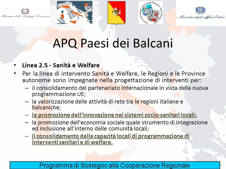 Programma di Sostegno alla Cooperazione Regionale APQ Paesi dei Balcani Linea 2.5 - Sanità e Welfare Per la linea di intervento Sanità e Welfare, le R