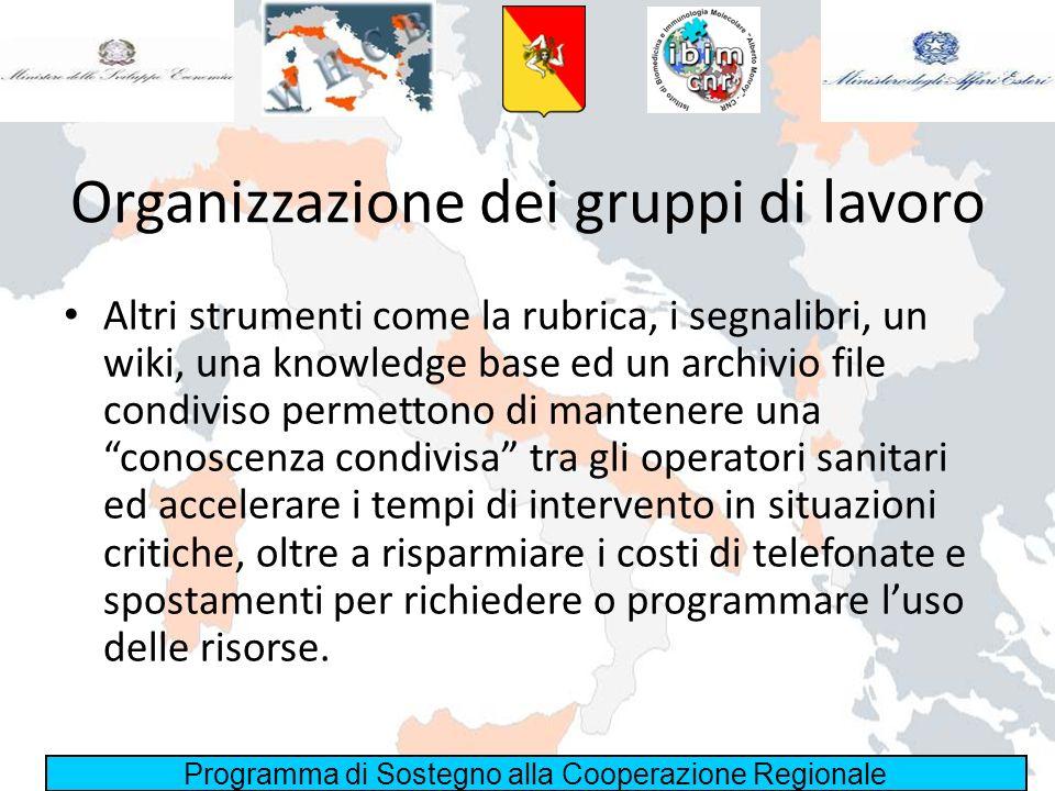 Programma di Sostegno alla Cooperazione Regionale Organizzazione dei gruppi di lavoro Altri strumenti come la rubrica, i segnalibri, un wiki, una know