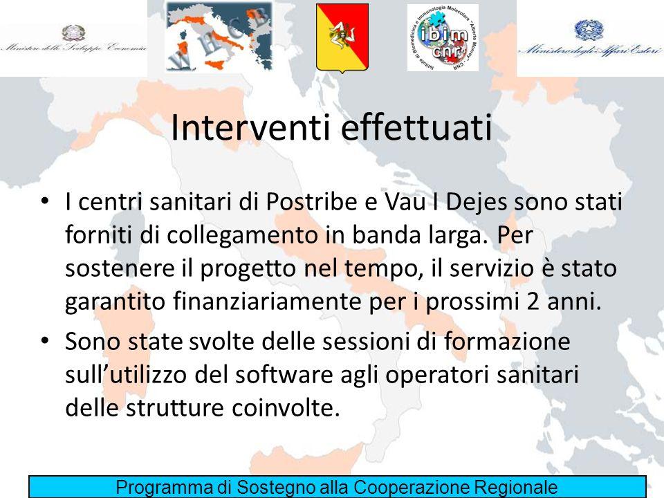 Programma di Sostegno alla Cooperazione Regionale Interventi effettuati I centri sanitari di Postribe e Vau I Dejes sono stati forniti di collegamento