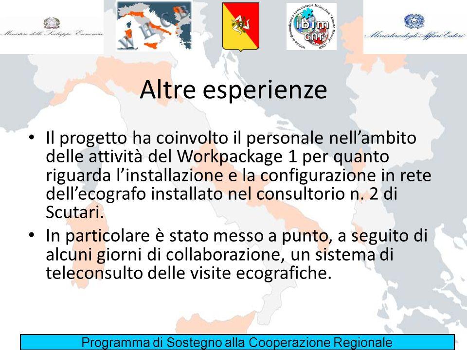 Programma di Sostegno alla Cooperazione Regionale Altre esperienze Il progetto ha coinvolto il personale nellambito delle attività del Workpackage 1 p