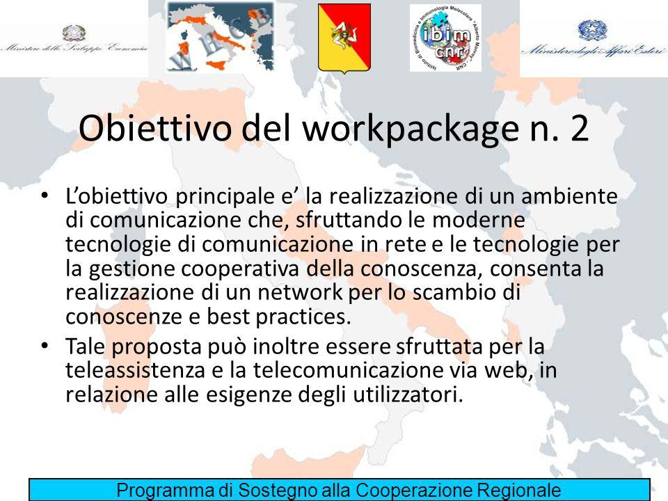 Programma di Sostegno alla Cooperazione Regionale Obiettivo del workpackage n. 2 Lobiettivo principale e la realizzazione di un ambiente di comunicazi