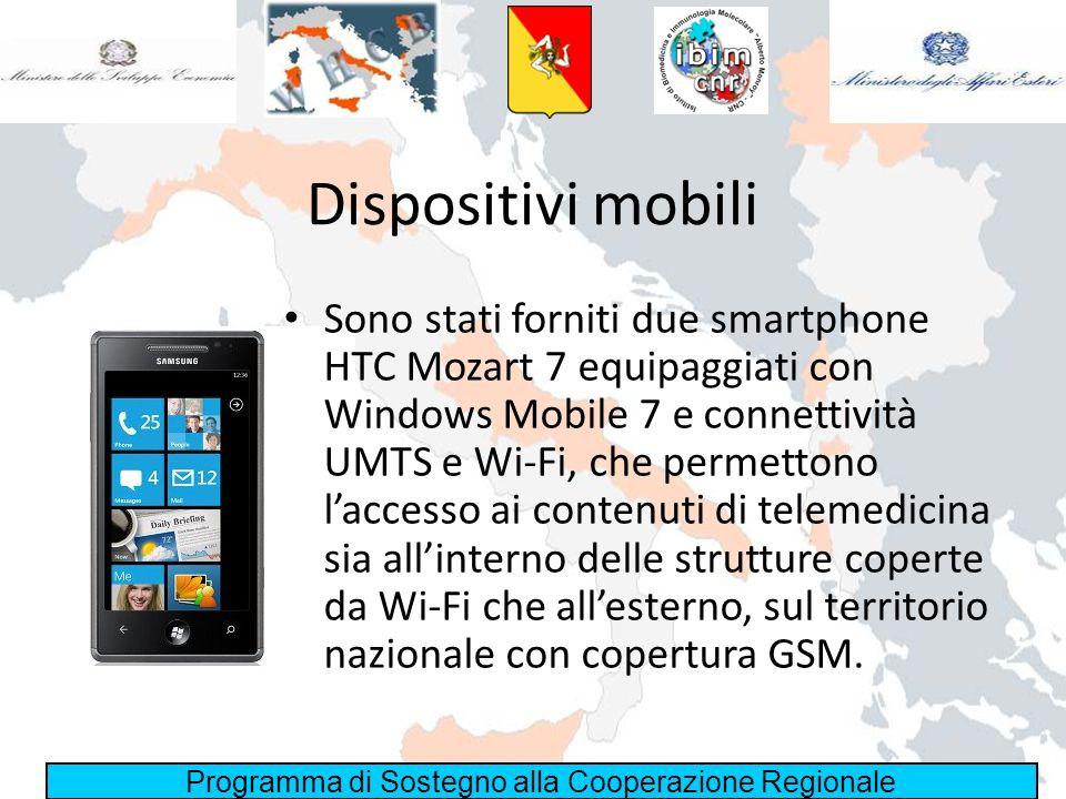 Programma di Sostegno alla Cooperazione Regionale Dispositivi mobili Sono stati forniti due smartphone HTC Mozart 7 equipaggiati con Windows Mobile 7