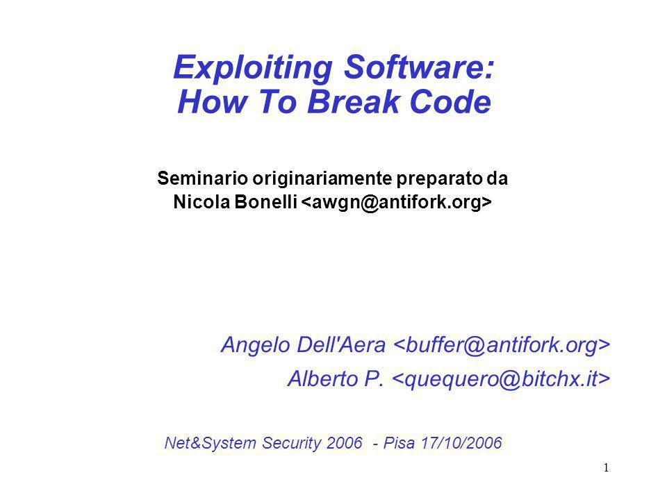 1 Exploiting Software: How To Break Code Seminario originariamente preparato da Nicola Bonelli Angelo Dell'Aera Alberto P. Net&System Security 2006 -