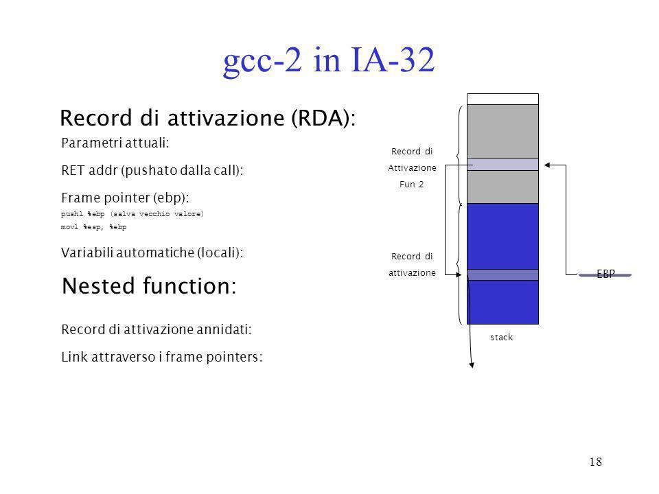 18 gcc-2 in IA-32 Record di attivazione (RDA): Parametri attuali: Frame pointer (ebp): pushl %ebp (salva vecchio valore) movl %esp, %ebp RET addr (pus