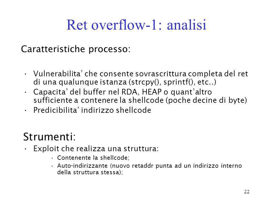 22 Ret overflow-1: analisi Vulnerabilita che consente sovrascrittura completa del ret di una qualunque istanza (strcpy(), sprintf(), etc..) Capacita d