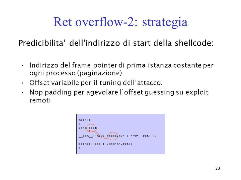 23 Ret overflow-2: strategia Indirizzo del frame pointer di prima istanza costante per ogni processo (paginazione) Offset variabile per il tuning dell
