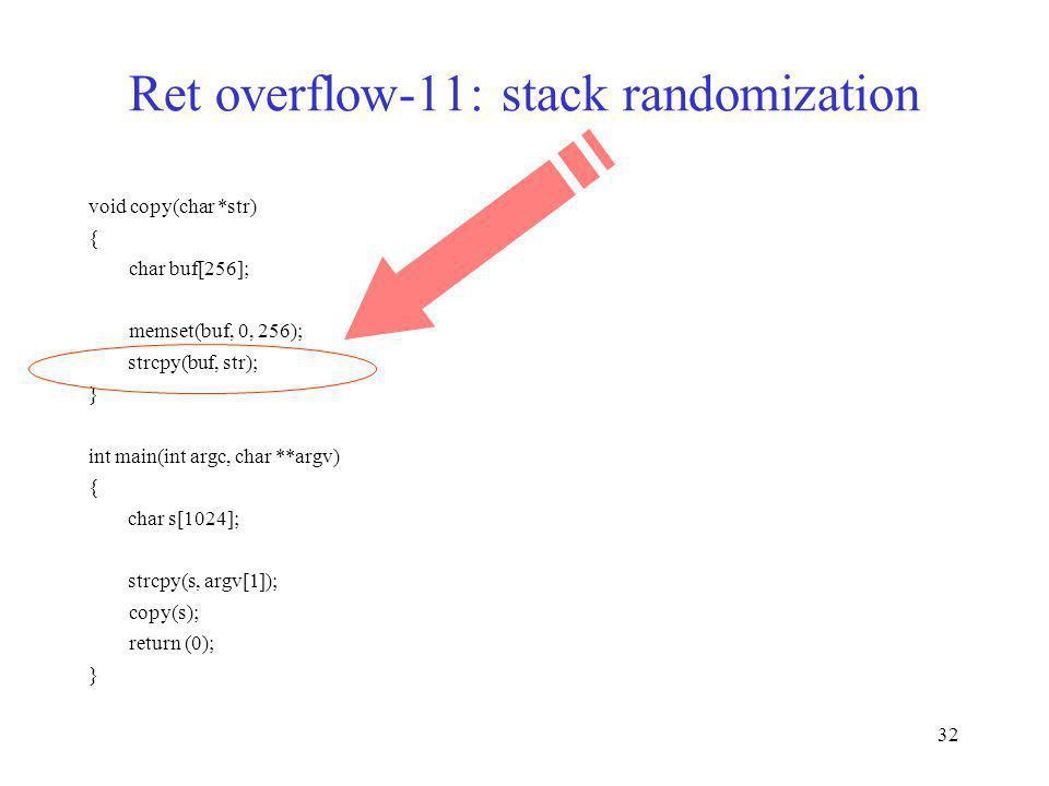32 Ret overflow-11: stack randomization void copy(char *str) { char buf[256]; memset(buf, 0, 256); strcpy(buf, str); } int main(int argc, char **argv)