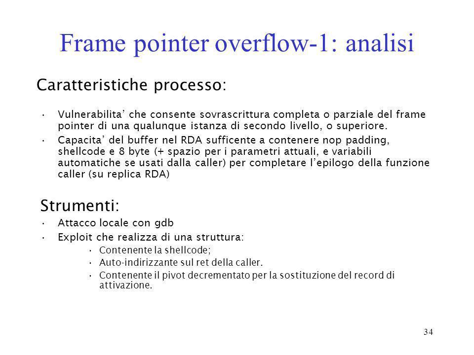 34 Frame pointer overflow-1: analisi Vulnerabilita che consente sovrascrittura completa o parziale del frame pointer di una qualunque istanza di secon