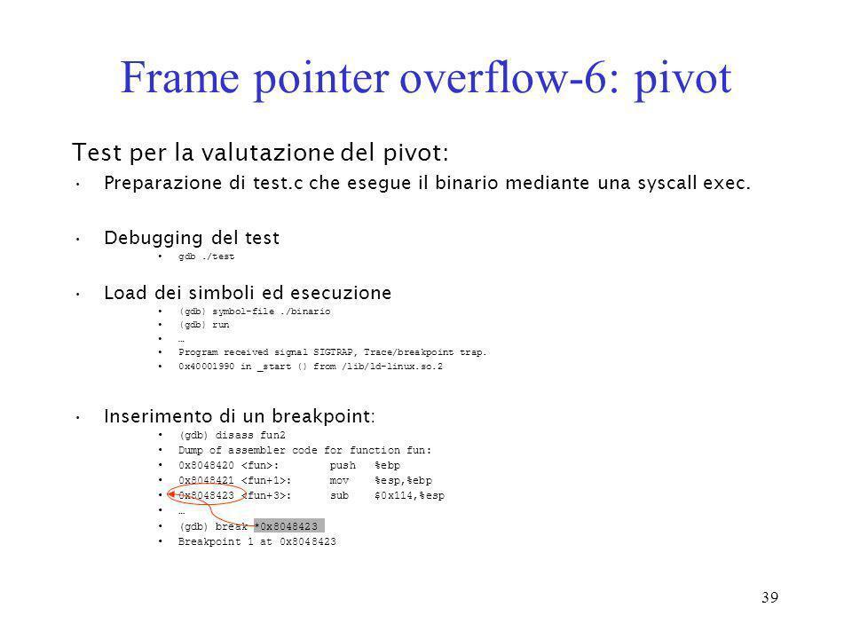 39 Frame pointer overflow-6: pivot Test per la valutazione del pivot: Preparazione di test.c che esegue il binario mediante una syscall exec. Debuggin