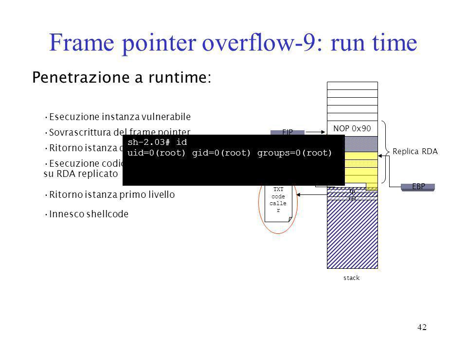 42 Frame pointer overflow-9: run time Penetrazione a runtime: Esecuzione instanza vulnerabile Sovrascrittura del frame pointer Ritorno istanza di seco