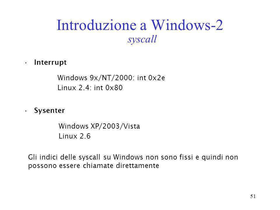 51 Introduzione a Windows-2 Interrupt Windows 9x/NT/2000: int 0x2e Linux 2.4: int 0x80 Sysenter Windows XP/2003/Vista Linux 2.6 syscall Gli indici del