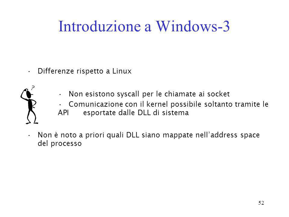 52 Introduzione a Windows-3 Differenze rispetto a Linux Non esistono syscall per le chiamate ai socket Comunicazione con il kernel possibile soltanto