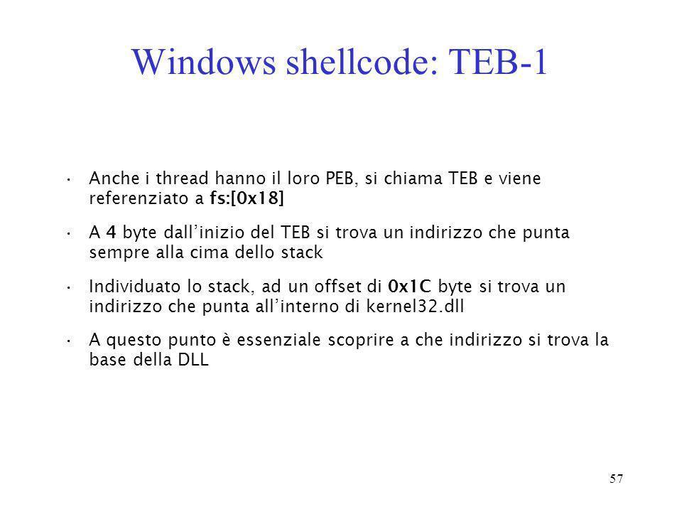 57 Windows shellcode: TEB-1 Anche i thread hanno il loro PEB, si chiama TEB e viene referenziato a fs:[0x18] A 4 byte dallinizio del TEB si trova un i