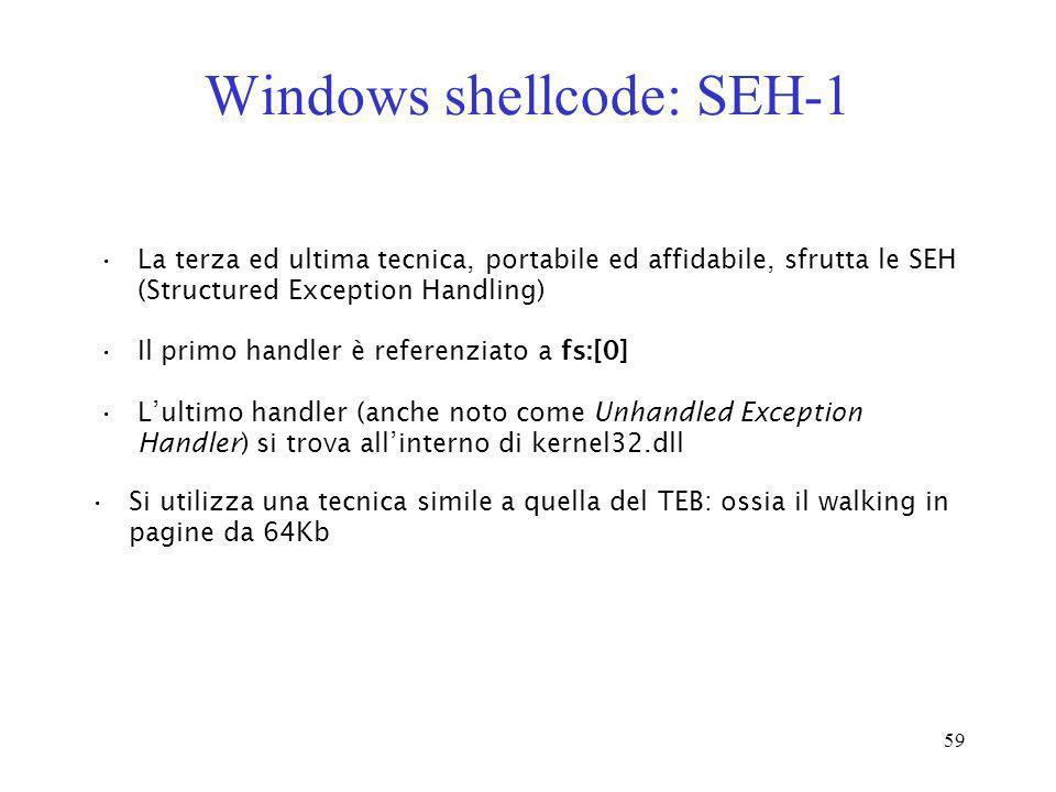 59 Windows shellcode: SEH-1 La terza ed ultima tecnica, portabile ed affidabile, sfrutta le SEH (Structured Exception Handling) Il primo handler è ref