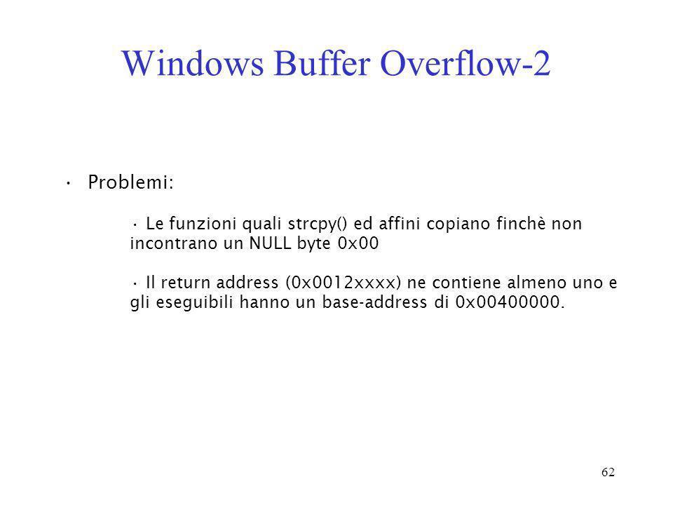 62 Windows Buffer Overflow-2 Problemi: Le funzioni quali strcpy() ed affini copiano finchè non incontrano un NULL byte 0x00 Il return address (0x0012x