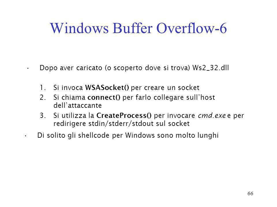 66 Windows Buffer Overflow-6 Dopo aver caricato (o scoperto dove si trova) Ws2_32.dll 1.Si invoca WSASocket() per creare un socket 2.Si chiama connect