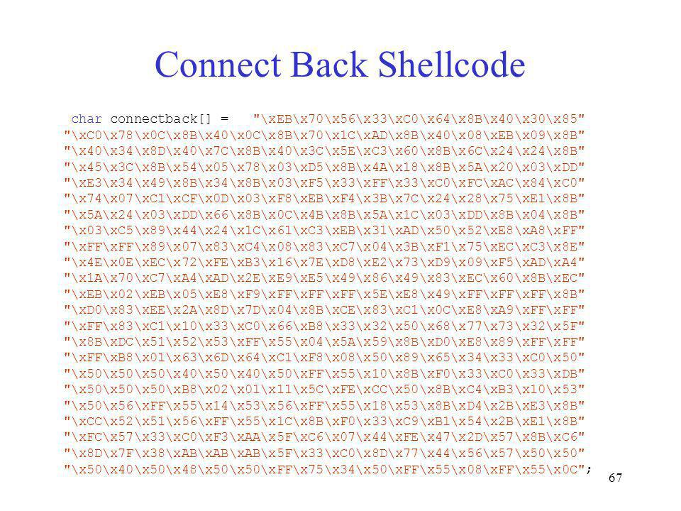 67 Connect Back Shellcode char connectback[] =