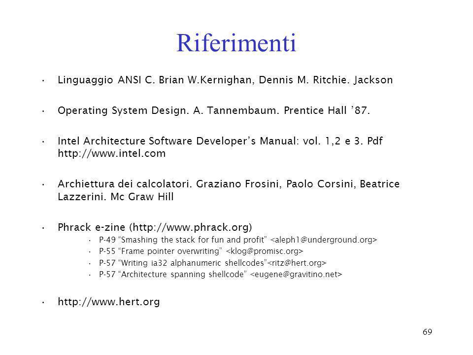 69 Riferimenti Linguaggio ANSI C. Brian W.Kernighan, Dennis M. Ritchie. Jackson Operating System Design. A. Tannembaum. Prentice Hall 87. Intel Archit