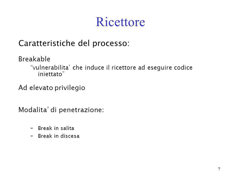 7 Ricettore Breakable vulnerabilita che induce il ricettore ad eseguire codice iniettato Caratteristiche del processo: Modalita di penetrazione: –Brea