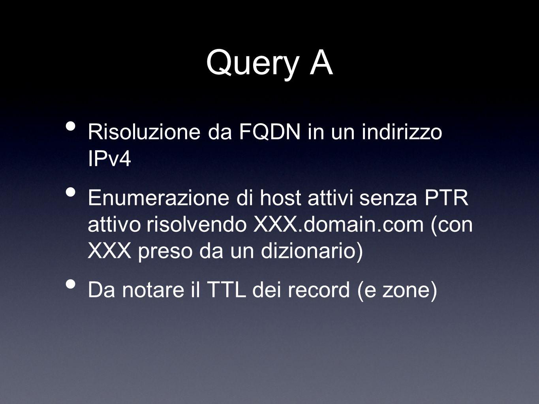 Query A Risoluzione da FQDN in un indirizzo IPv4 Enumerazione di host attivi senza PTR attivo risolvendo XXX.domain.com (con XXX preso da un dizionari