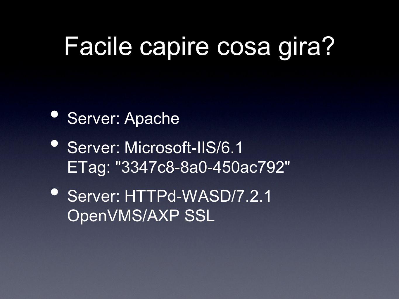 Facile capire cosa gira? Server: Apache Server: Microsoft-IIS/6.1 ETag: