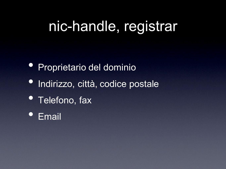 nic-handle, registrar Proprietario del dominio Indirizzo, città, codice postale Telefono, fax Email