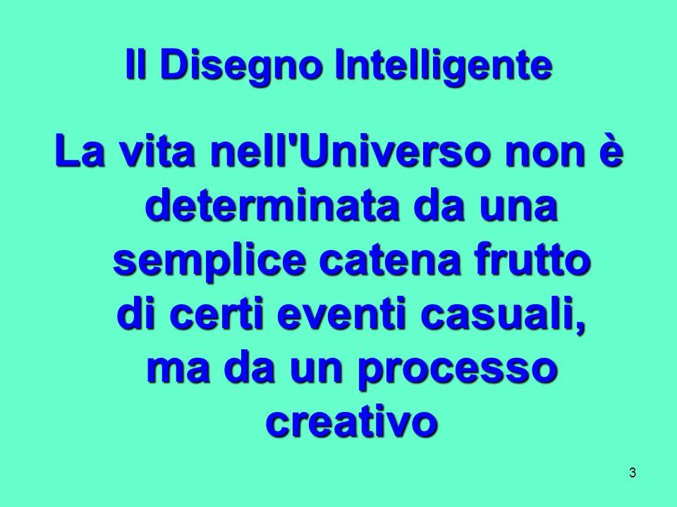 3 Il Disegno Intelligente La vita nell'Universo non è determinata da una semplice catena frutto di certi eventi casuali, ma da un processo creativo