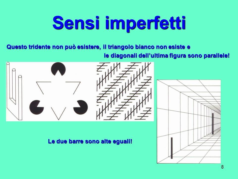 8 Sensi imperfetti Questo tridente non può esistere, il triangolo bianco non esiste e le diagonali dellultima figura sono parallele! le diagonali dell