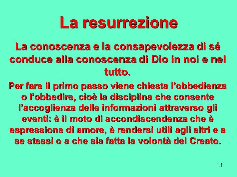 11 La resurrezione La conoscenza e la consapevolezza di sé conduce alla conoscenza di Dio in noi e nel tutto. Per fare il primo passo viene chiesta lo