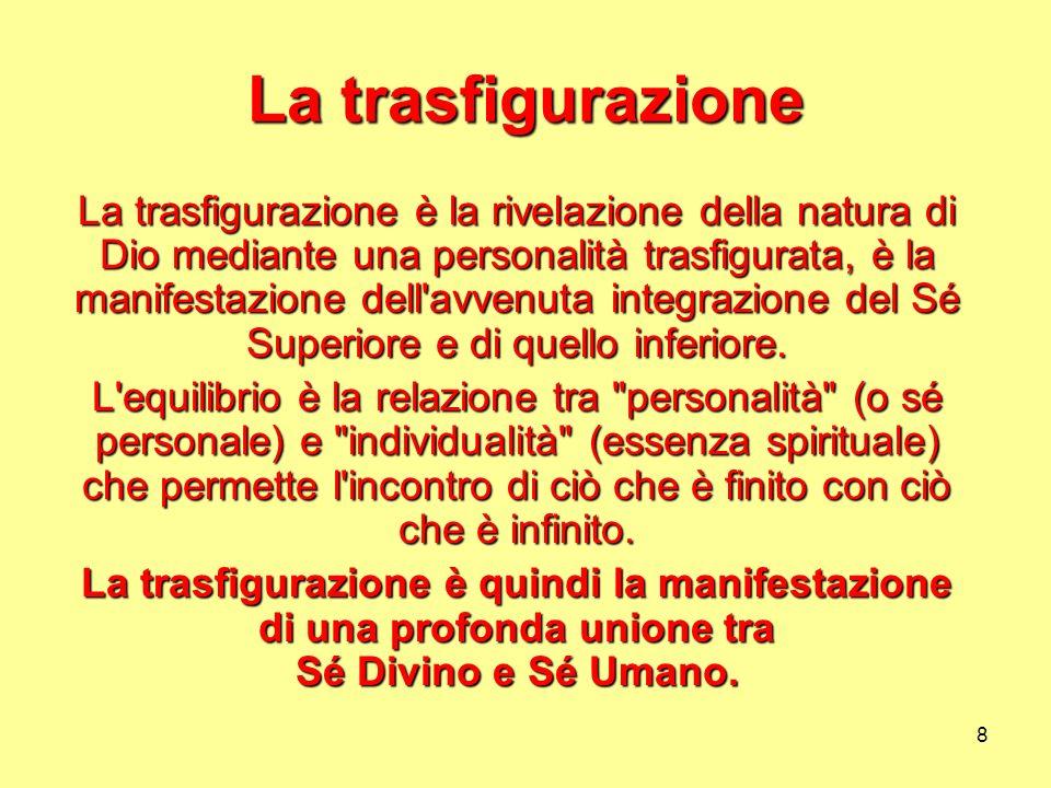 8 La trasfigurazione La trasfigurazione è la rivelazione della natura di Dio mediante una personalità trasfigurata, è la manifestazione dell'avvenuta