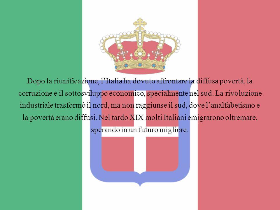 Dopo la riunificazione, lItalia ha dovuto affrontare la diffusa povertà, la corruzione e il sottosviluppo economico, specialmente nel sud. La rivoluzi