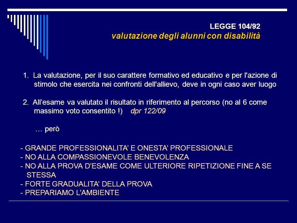 LEGGE 104/92 valutazione degli alunni con disabilità 1. La valutazione, per il suo carattere formativo ed educativo e per l'azione di stimolo che eser