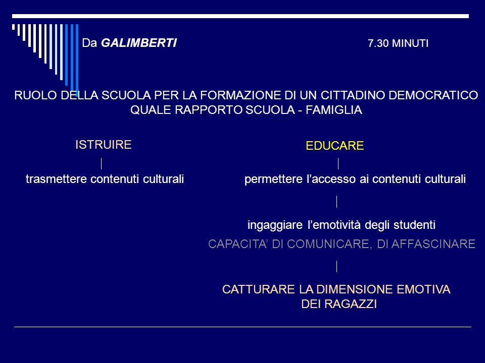 Da GALIMBERTI 7.30 MINUTI RUOLO DELLA SCUOLA PER LA FORMAZIONE DI UN CITTADINO DEMOCRATICO QUALE RAPPORTO SCUOLA - FAMIGLIA ISTRUIRE EDUCARE trasmette