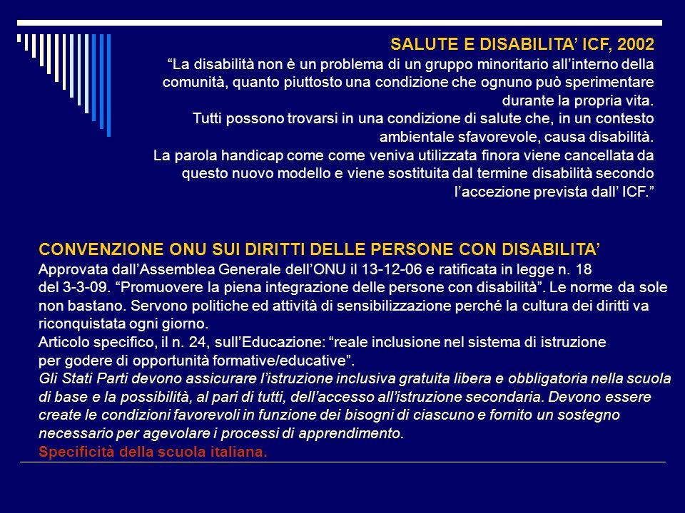 SALUTE E DISABILITA ICF, 2002 La disabilità non è un problema di un gruppo minoritario allinterno della comunità, quanto piuttosto una condizione che