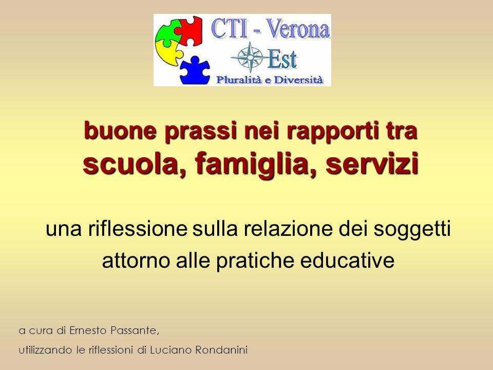 buone prassi nei rapporti tra scuola, famiglia, servizi una riflessione sulla relazione dei soggetti attorno alle pratiche educative a cura di Ernesto
