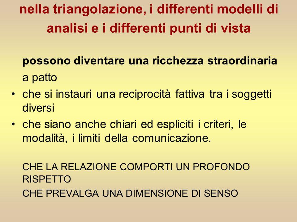 nella triangolazione, i differenti modelli di analisi e i differenti punti di vista possono diventare una ricchezza straordinaria a patto che si insta